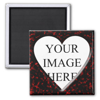 Red Marble Square Frame with Heart Refrigerator Magnet