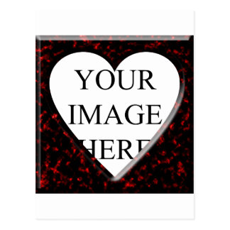 Red Marble Square Frame with Heart Postcard
