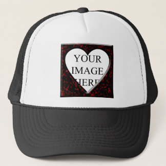 Red Marble Square Frame with Heart Trucker Hat