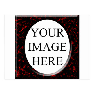 Red Marble Squre Fram Template Postcard