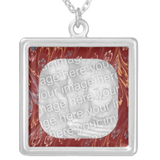 Red Marbled Frame Template Silver Plated Necklace
