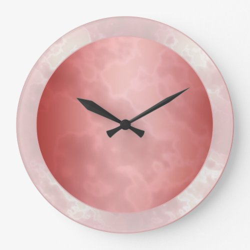 Red Marbled Large Clock