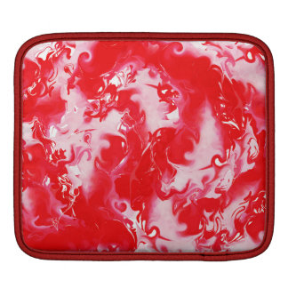 Red marbled texture, rich ebru technique iPad sleeve