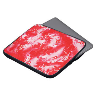 Red marbled texture, rich ebru technique, marbling laptop sleeve
