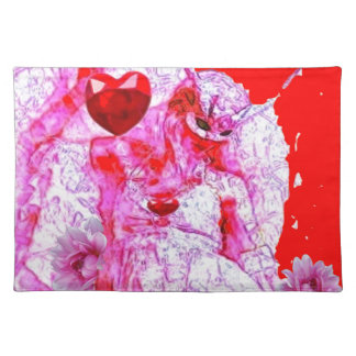 Red Mardi Gras Queen of Hearts by Sharles. Cloth Placemat