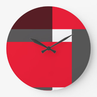 Red, maroon and gray blocks large clock