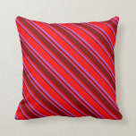 [ Thumbnail: Red, Maroon, and Orchid Colored Stripes Pillow ]