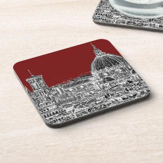 Red maroon Basilica Drink Coaster
