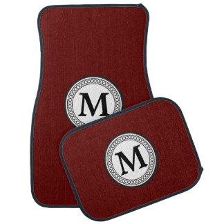 Red Maroon Black Monogram Car Mat