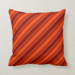 [ Thumbnail: Red & Maroon Colored Striped Pattern Throw Pillow ]