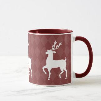 Red Maroon Reindeer Christmas Mug