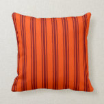 [ Thumbnail: Red & Maroon Striped Pattern Throw Pillow ]