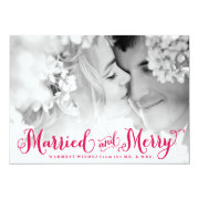 Red Married and Merry Newlywed Christmas Card Custom Invite
