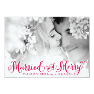 Red Married and Merry Newlywed Christmas Card