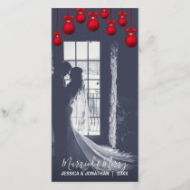 Red MARRIED & MERRY First Christmas | Add PHOTO Holiday Card