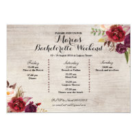 Red Marsala Fall Bachelorette Party Itinerary Card
