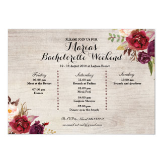 Red Marsala Fall Bachelorette Party Itinerary Invitation