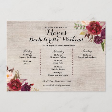Red Marsala Fall Bachelorette Party Itinerary Program