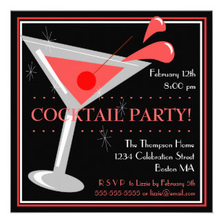 Red Martini Cocktail Party Invitation