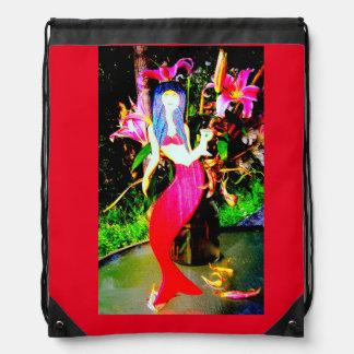 red martini mermaid drawstring bag