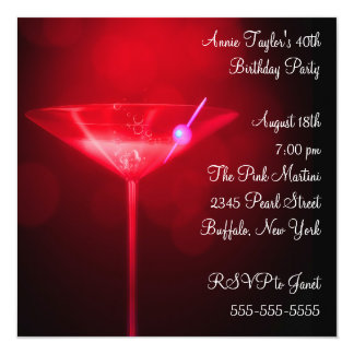 Red Martini Womans 40th Birthday Party Card