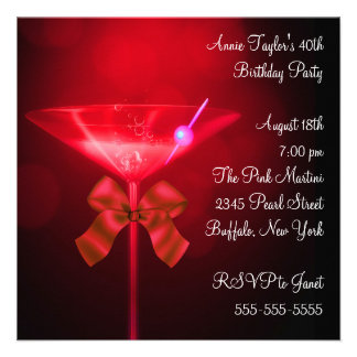 Red Martini Womans Any Number Birthday Party Invites