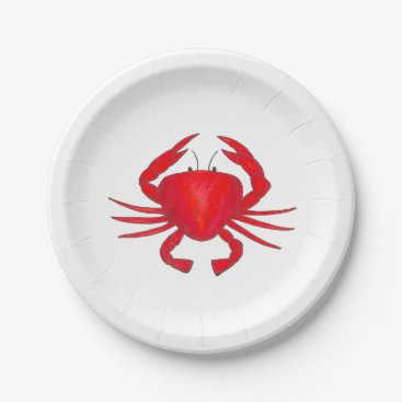 Beach Themed Red Maryland Crab Beach Seafood Crabs Plate