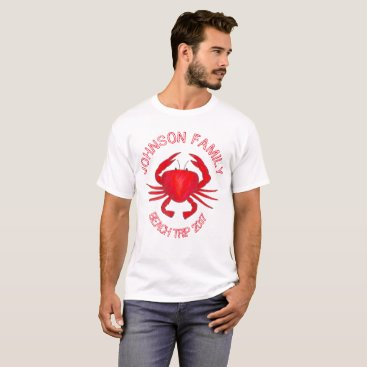 Beach Themed Red Maryland Crab Customized Family Beach Vacation T-Shirt