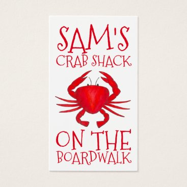 Professional Business Red Maryland Crab Shack Crabs Beach Food Ocean Business Card