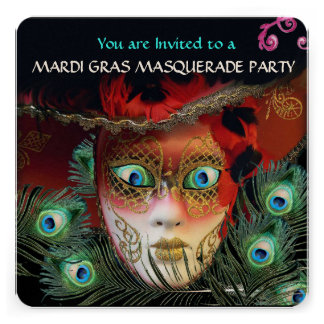RED MASK AND PEACOCK FEATHERS MASQUERADE PARTY INVITATIONS