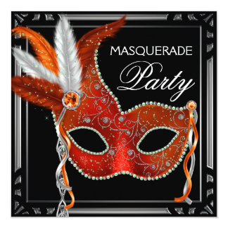 Red Mask Black Red Masquerade Party Card
