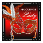 Red Mask Black Red Masquerade Party Personalized Invites
