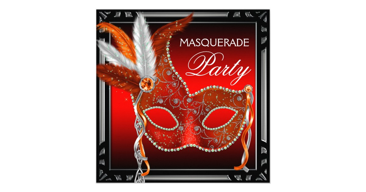 Red Mask Black Red Masquerade Party Invitation