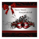 Red Mask Masquerade Party Personalized Announcement Card