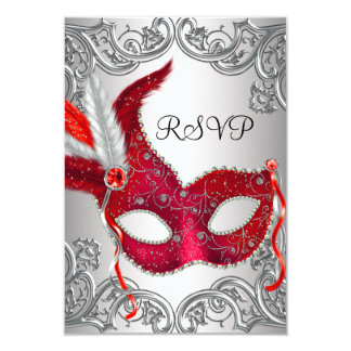 """Red Mask Masquerade Party RSVP 3.5"""" X 5"""" Invitation Card"""