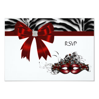Red Mask Masquerade Party Sweet 16 RSVP 3.5x5 Paper Invitation Card