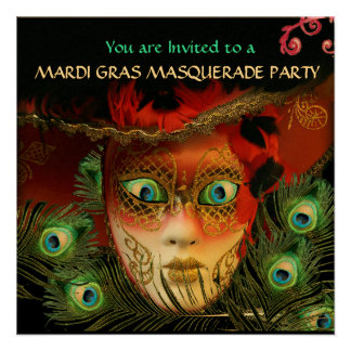 RED MASK PEACOCK FEATHERS GOLD MASQUERADE PARTY INVITES