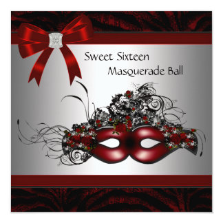 Red Mask Sweet 16 Masquerade Party Personalized Announcements
