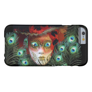 RED MASK WITH  PEACOCK FEATHERS MASQUERADE PARTY BARELY THERE iPhone 6 CASE