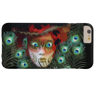 RED MASK WITH  PEACOCK FEATHERS MASQUERADE PARTY BARELY THERE iPhone 6 PLUS CASE
