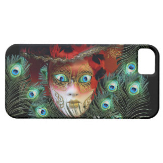 RED MASK WITH  PEACOCK FEATHERS MASQUERADE PARTY iPhone 5 COVER