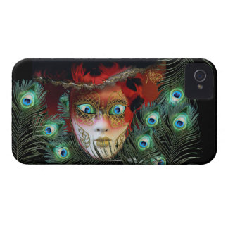 RED MASK WITH  PEACOCK FEATHERS MASQUERADE PARTY iPhone 4 Case-Mate CASE