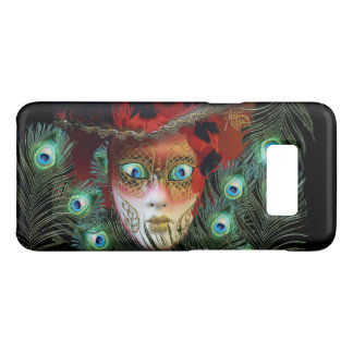 RED MASK WITH  PEACOCK FEATHERS MASQUERADE PARTY Case-Mate SAMSUNG GALAXY S8 CASE
