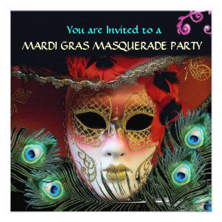 RED MASK WITH PEACOCK FEATHERS MASQUERADE PARTY PERSONALIZED INVITE