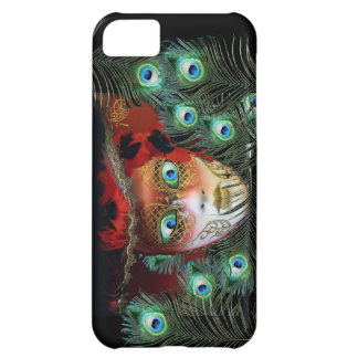 RED MASK WITH  PEACOCK FEATHERS MASQUERADE PARTY iPhone 5C COVER