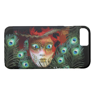 RED MASK WITH  PEACOCK FEATHERS MASQUERADE PARTY iPhone 8/7 CASE