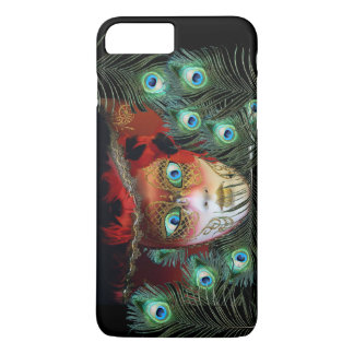 RED MASK WITH  PEACOCK FEATHERS MASQUERADE PARTY iPhone 8 PLUS/7 PLUS CASE