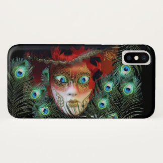 RED MASK WITH  PEACOCK FEATHERS MASQUERADE PARTY iPhone X CASE