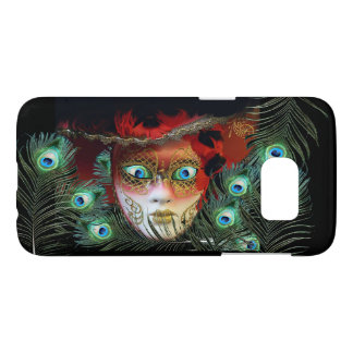 RED MASK WITH  PEACOCK FEATHERS MASQUERADE PARTY SAMSUNG GALAXY S7 CASE