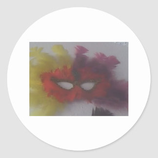 red mask with yellow feathers 3 classic round sticker